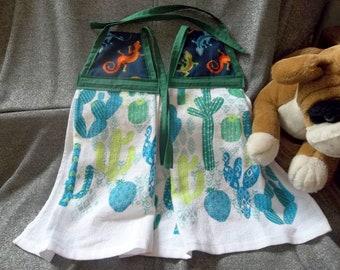Hanging Printed Kitchen Terry Tie Towels, SW Lizzards Navy Top