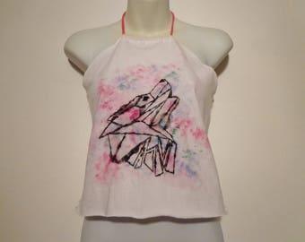 Howling Geo Wolf Handpainted Crop Top Tank Boho Festival Fashion, Summer Style, Ladies Small Medium
