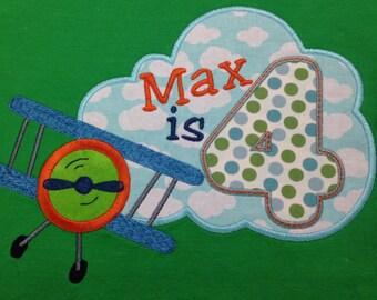 Airplane and Cloud birthday shirt