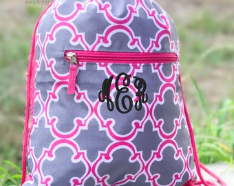 3Colors- Drawstring backpack, Monogrammed Cinch Bag, Monogram Backpack, Gym backpack, Lightweight travel bag, Monogram Drawstring Bag, Gray