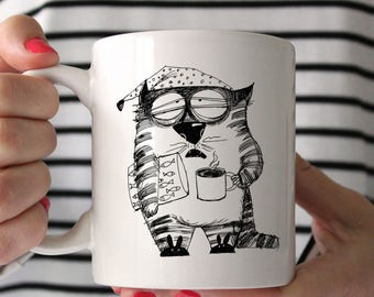 Sleepy Cat Hand-drawn Ceramic Mug - Wake Up - Cat Mug - Cute Mug - Hand Drawn - Morning Coffee - Tea Mug - Coffee Mug - Tea Cup - Coffee Cup