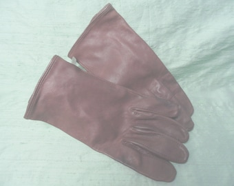 Brown leather women's gloves /  Extra large, unlined