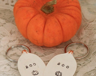 HALLOWEEN BOO PUMPKIN Hand Stamped Spoon Ornament / Key Chain Silverware Vintage We Can Stamp The Year to Personalize Ready To Ship