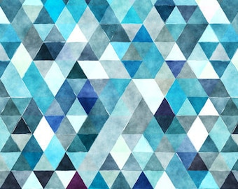 Crib Skirt Teal Watercolor Triangles. Baby Bedding. Crib Bedding. Crib Skirt Boy. Baby Boy Nursery. Teal Crib Skirt. Navy Crib Skirt.