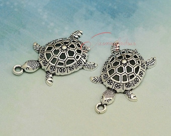 10PCS--39x25mm ,Sea turtle Charms, Antique Silver Tone 3D Sea turtle charm pendant,Tortoise charm, DIY supplies,Jewelry accessories