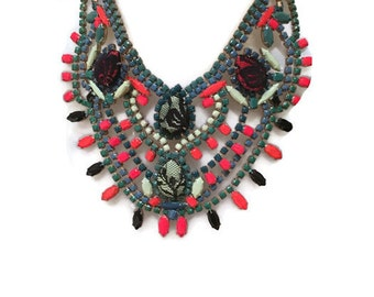 FESTIVE THISTLE painted rhinestone bib necklace
