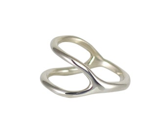 Split-bague, bague en argent minimaliste, superposition moderne Uni anneau simple, made in USA
