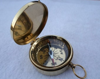 Brass Compass w/ Lid - Necklace Pendant - Old Vintage Antique Pocket Style - Nautical Maritime Gift
