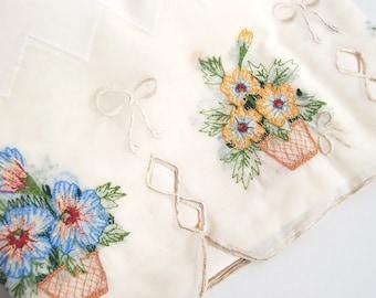 "Vintage Cafe Curtain Set, Tier Valance 60"" WARDS Peggy, Embroidered Beige Floral"