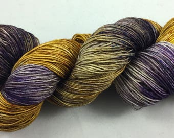 hand dyed sock yarn, multi-colorway GRAPE TOFFEE, fingering weight, superwash merino and wool, 4 ply