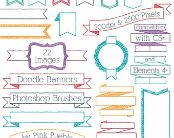 Doodle Banners Photoshop Brushes, Doodle Frame Ribbon Header Photoshop Brush - Commercial and Personal Use