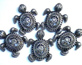 Five 2 Hole Slider Beads Clear Crystal Silver Plated Turtle With Ornate Stamped Shell Animal Beads Nautical Beads Beach Beads Turtle Beads