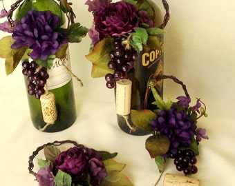 Wine Bottle Toppers custom orders Wedding Centerpieces 2 sets purple table decor bridal shower favors accessories party event reception