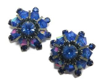 Weiss Royal Blue Rhinestone Earrings, Vintage AB Rhinestone Clip-on  Earrings, Signed Weiss Jewelry