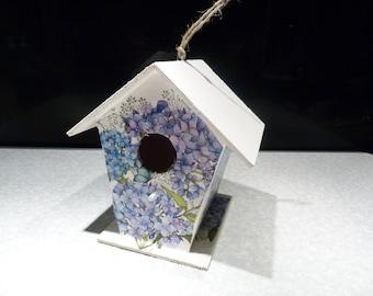 Decorative Bird house nesting box, decoupage, hydrangeas, hanging, garden, gift