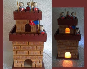 Boys Fortress Nightlight Lamp with removable top for extra light and removable Peg Guards