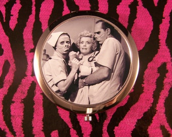 Compact Mirror The Twilight Zone Eye of the Beholder Unique Retro Creepy Eerie Pig People Rod Serling