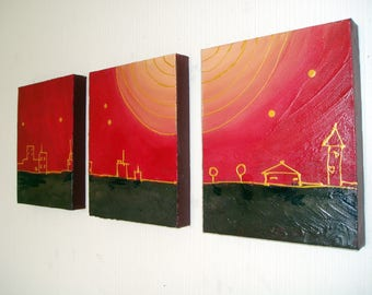 """triptych painting original abstract affordable wall art wall hanging canvas 3 panel three panel city of gold black el dorado art 36 x 16 """""""