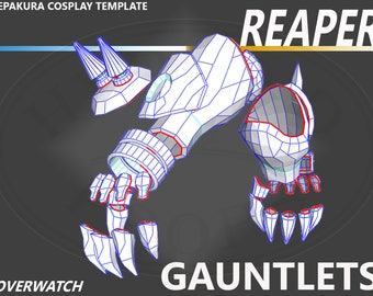 Overwatch Reaper Gauntlets with Claws PDO Pepakura File Papercraft Cosplay