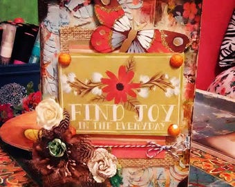 Find joy in the everyday original mixed media artwork