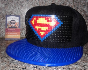 Adult Superman Snapback Hat Lego Style DC Comics Justice League Movie Video Game Pixel Hat (Blue Brim)