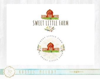 Farm Logo Design, Farmer Logo, Country Logo, Stamp logo, Watercolor Logo, watermark, Premade Logo