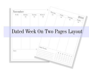 2018 Dated Planner Printable Planner 8-1/2 x 11 Executive Size Desk Calendar Planner Standard Size Planner