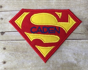 Superman Inspired Appliqué Patch, Free Personalization Included!