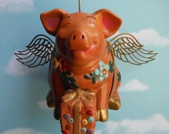 Flying Pig Birthday Pig, Up Cycled Piggy Bank