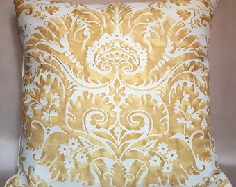 Fortuny Fabric Throw Pillow Cushion Cover Red & Silvery Gold  Demedici Pattern - Made in Italy