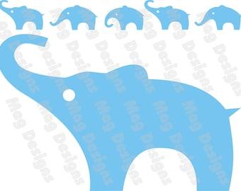 Vinyle éléphants - bleu clair ou votre choix de couleur - n ° 3