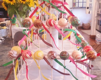 Cute New Style Little Cake Pop Stand.  52 Cake Pop Capacity.  Routed Edges and Ball Feet.