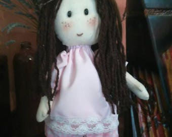 Handmade doll with brown hair