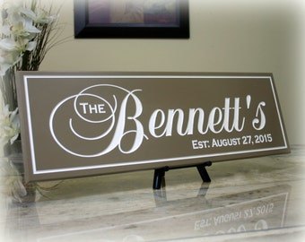 Wedding Last Name Sign Personalized Family Name Sign Carved Wood Sign Family Established Sign Wedding Gift Sign Anniversary Gift