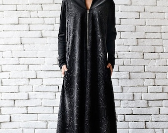 SALE Black Maxi Dress/Long Zipper Dress/Oversize Black Kaftan/Plus Size Maxi Dress/Long Sleeve Dress/Loose Black Dress/Comfortable Black Dre