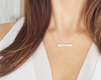 Mother of Pearl Bar Necklace | Horizontal Bar Necklace | Minimalist Jewelry