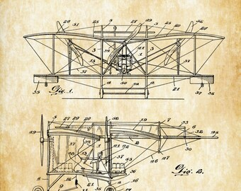 1916 Smith Flying Machine Patent - Airplane Blueprint, Vintage Aviation Art, Airplane Art, Pilot Gift,  Aircraft Decor, Airplane Patent