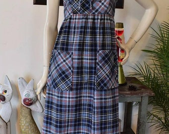 Vintage 80s plaid Jumper Dress XS/S