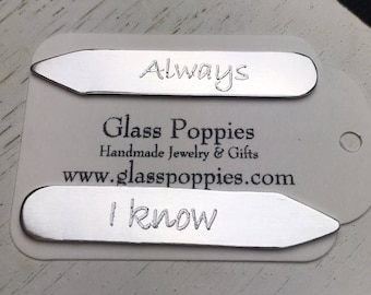 Personalized Engraved Collar Stays - Custom Name Monogram Date Anniversary Birthdate - Gifts for Him - Shirt Collar Inserts Aluminum