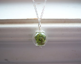 Moss Necklace  - Bridesmaids Gifts - Garden Necklace - Glass Orb necklace - Green Necklace - Earthy Necklace - Free Gift With Purchase
