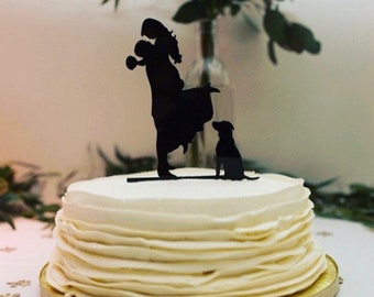 MADE In USA, With Dog Wedding Cake Topper Silhouette Groom Lifting Up Bride Wedding Cake Topper Bride + Groom + Dog Pet Family of 3 Topper