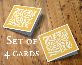 Pack of 4 papercut cards, Small notecards, Set of four, Sunflower, Flower card, Paper cut flower, Mini paper cut, Thank you note card