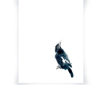 Black and White Magpie Print From Original Watercolor, Black and White Minimalist Watercolor Home Decor Wall Art, Crow Wall Decor Art Print