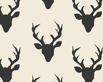 Buck Forest Night, Hello Bear,Woodland Nursery Fabric, Art Gallery Fabrics, Black and Ivory Stag Heads,  Woodland Fabric, HBR-5434