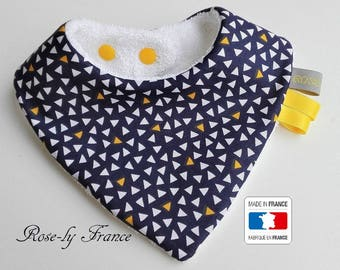 Graphic bandana bib Navy Blue and yellow
