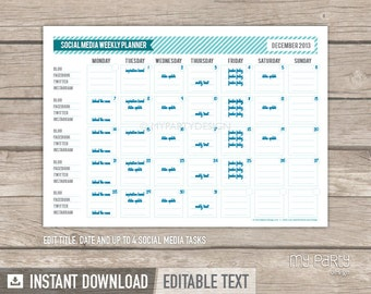 Social Media Planner - INSTANT DOWNLOAD - Printable PDF with Editable Text