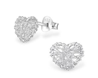 Woven Heart Stud Earrings 925 Sterling Silver - ESPT009