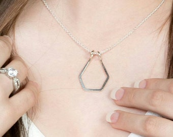Geometric Pendant Necklace, Argentium Sterling Silver or Gold Filled