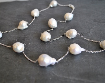Sterling Silver ORGANIC BAROQUE PEARL necklace
