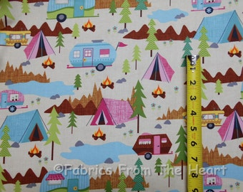 Travel Trailers Vintage TearDrop Campers Trailers on Cream 9 yds TT Cotton Fabric